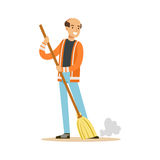 Smiling mature street sweeper at work, street cleaner character vector Illustration. On a white background Stock Photos