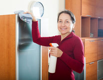 Smiling mature woman cleaning  furniture Royalty Free Stock Photography