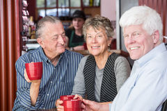 Smiling Mature Woman in Coffee House Royalty Free Stock Photos