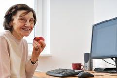 Smiling mature woman at computer Stock Photo
