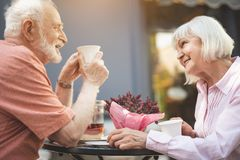 Smiling mature woman and man spending time outside royalty free stock images