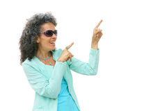Smiling Mature Woman Pointing Stock Photos