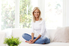 Smiling mature woman royalty free stock photo