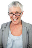 Smiling mature woman wearing glasses Royalty Free Stock Image
