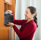 Smiling mature woman wiping the dust Stock Photos