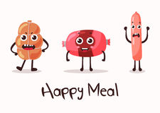 Smiling meat cartoon character. Flank meat roulade and frankfurter sausage and wurst, weenie and beef. Fits good for steakhouse or restaurant, cartoon Stock Photography