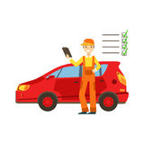 Smiling Mechanic Analysing With Checklist In The Garage, Car Repair Workshop Service Illustration. Cartoon Male Character In Dungarees Working In Auto Repair Stock Images