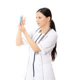 Smiling medical doctor or nurse Stock Photos