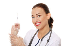 Smiling medical doctor or nurse Stock Photo