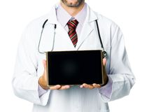 Smiling medical doctor show a tablet pc Stock Photography