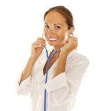 Smiling medical doctor woman royalty free stock photo