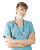 Smiling medical doctor woman with stethoscope Royalty Free Stock Images