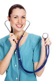 Smiling medical doctor woman with stethoscope Stock Photos