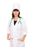 Smiling medical doctor woman with stethoscope. Stock Image