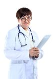 Smiling medical doctor woman with stethoscope. Royalty Free Stock Image