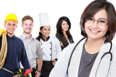 Smiling medical doctor. worker and employee healthcare insurance Stock Photos