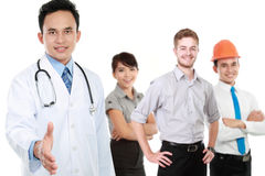 Smiling medical doctor. worker and employee healthcare insurance Stock Images