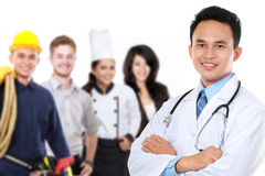 Smiling medical doctor. worker and employee healthcare insurance. Portrait of medical doctor and patient in the background. worker and employee healthcare royalty free stock photo