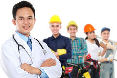 Smiling medical doctor. worker and employee healthcare insurance Royalty Free Stock Photography