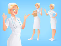 Smiling medical nurse in uniform in various poses. Vector set. Young smiling cute medical nurse in white uniform with stethoscope in various poses. A set of Stock Photography
