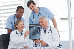 Smiling medical team examining radiography. In bright office Royalty Free Stock Image