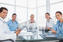 Smiling medical team during a meeting Royalty Free Stock Photography