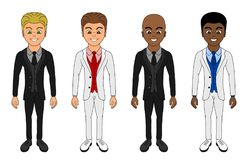 Smiling men in expensive suits cartoon vector illustration