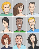 Smiling men and women faces collection Royalty Free Stock Photo