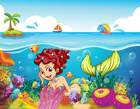 A smiling mermaid under the sea Royalty Free Stock Photos