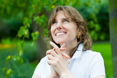 Smiling middle age woman portrait Royalty Free Stock Image