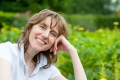 Smiling middle age woman portrait Stock Images