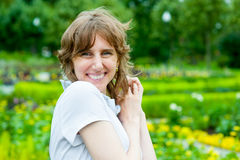 Smiling middle age woman portrait Royalty Free Stock Photos