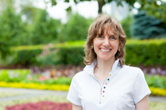 Smiling middle age woman portrait Royalty Free Stock Images