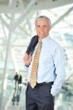 Smiling Middle Aged  Businessman Jacket Shoulder Stock Photo