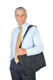 Smiling Middle aged Businessman With Travel Bag Stock Image