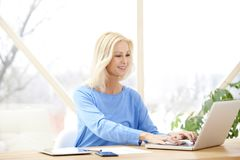 Businesswoman working on laptop Stock Photo