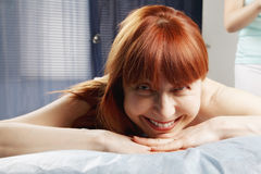 Redhead waiting for massage Royalty Free Stock Photo