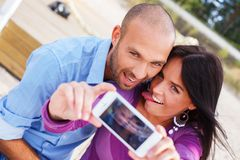 Smiling middle-aged couple Stock Photography
