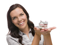 Smiling Mixed Race Woman Holding Small House Isolated on White Stock Images