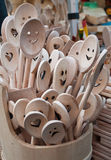 Smiling mixing spoons Royalty Free Stock Image