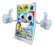 Smiling mobile phone mascot Royalty Free Stock Photo