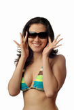 Smiling model in bikini Stock Photography