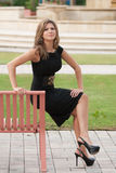 Smiling model in a black dress Royalty Free Stock Photography