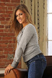 Smiling Model In Cardigan Stock Images