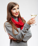 Smiling model with drink in glass isolated on white background Royalty Free Stock Photography