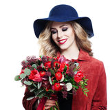 Smiling Model with Flowers Bouquet  Royalty Free Stock Image