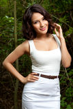 Smiling Model In Woods Stock Photography