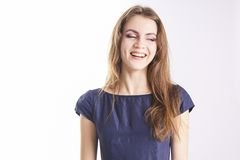 Smiling model with professional makeup Royalty Free Stock Photography