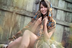 Smiling model with shawl Royalty Free Stock Photo