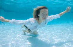 Smiling Model Under the water Stock Photography